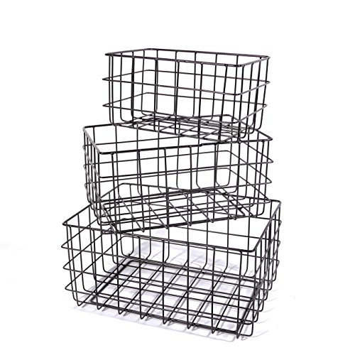SLPR Wire Storage Basket (Set of 3, Black) | Organizer Bin Baskets for Kitchen Cabinets Freezer Bedroom Bathroom Nursery ()