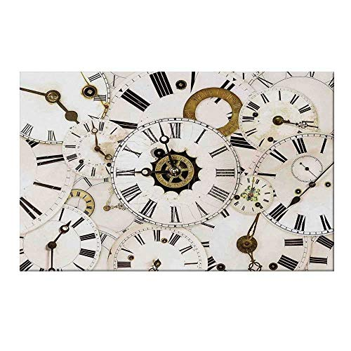 YOLIYANA Antique Durable Door Mat,Collection of Vintage Classic Clock Faces Aged Analog Time Head Minute Hour Print for Home Office,15.7