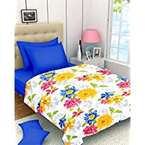 Casa Copenhagen Yellow, Red and Blue Floral Print Reversible Twin Size Bedspread Coverlet Quilt Blanket
