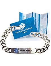 """Pre-engraved""""Hemophilia"""" Stainless Steel Medical Alert Identification Bracelet. Choose from Diabetes, Coumadin, Blood Thinners, Seizures, Asthma, Pacemaker, Allergy and many more."""