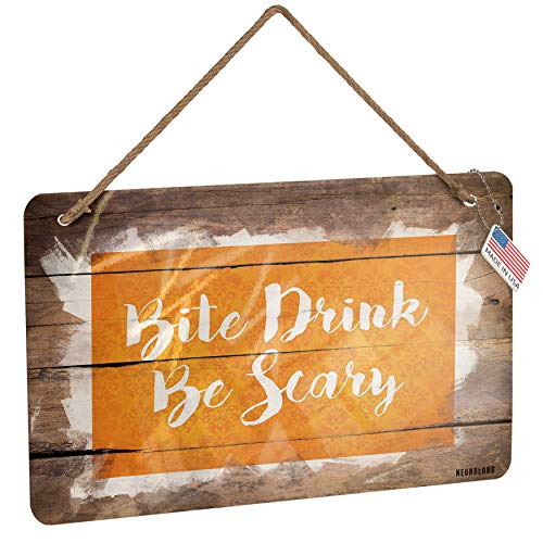 NEONBLOND Metal Sign Bite Drink Be Scary Halloween Orange Wallpaper Christmas Wood Print]()