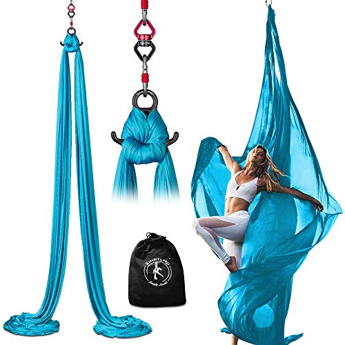 Professional 10 Yards Aerial Silks Equipment for All Levels - Medium Stretch Aerial Yoga Swing & Hammock Kit - Perfect for Indoor Outdoor Aerial Dance, Circus Arts - ALL Hardware Included (Sky Blue)