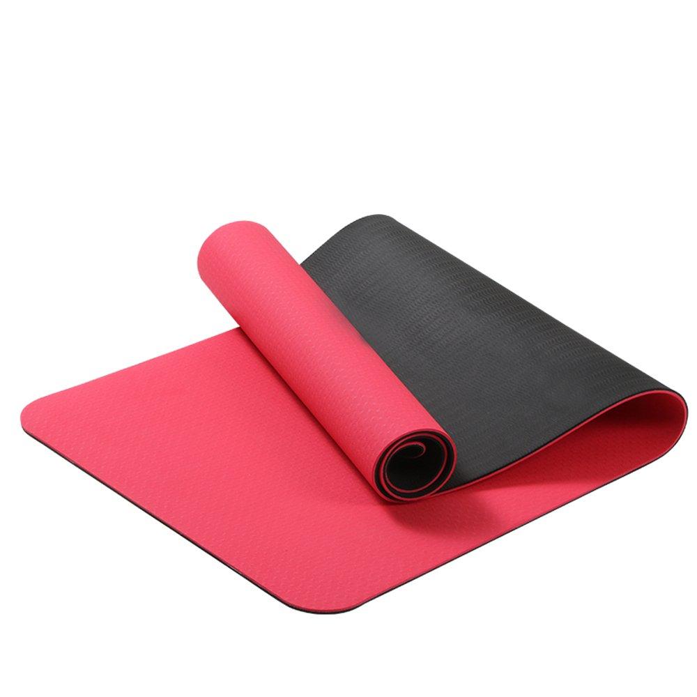 QAR Geruchlose Rutschfeste Anfänger Dünne Abschnitt Fitness Erweitert Yoga-Matte Yoga Matte (Farbe : ROT)