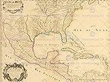 MAP ANTIQUE 1703 MEXICO CARRIBEAN ISLANDS USA GULF OCEAN FRANCE POSTER BB8144
