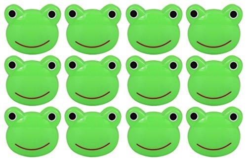 Set of 12 Green Frog Novelty Animal Face Bag Clips, Chip Clips, Paper Clips - Frog
