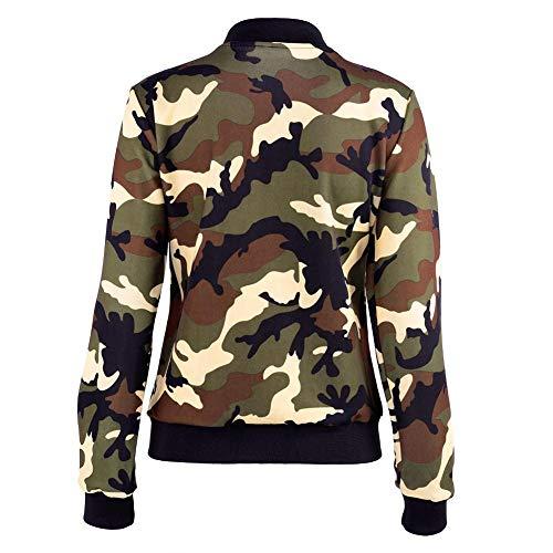 Donna Camouflage Jacket Autunno Army Primavera Green E Da Cappotto Slim Giacca Girocollo n8wOk0P