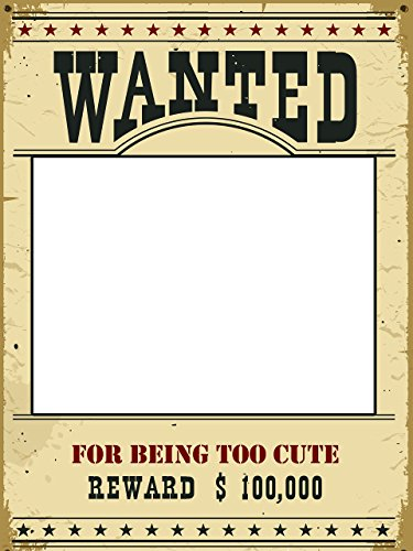 Custom Wanted for being to cute Photo Booth Prop - sizes 36x24, 48x36; Pesonalized Wanted Home Decorations, Handmade Party Supply Photo Booth (Cute Kids Crafts Halloween)