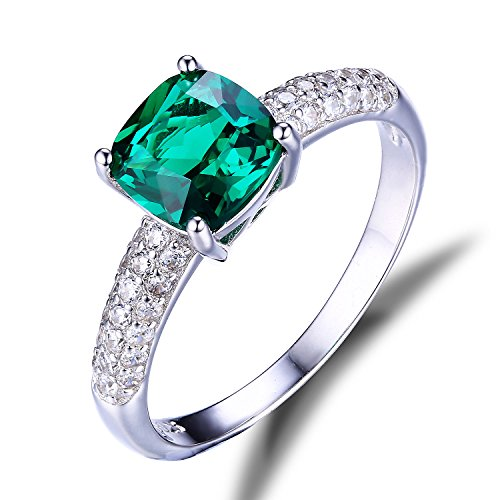 Jewelrypalace Womens 1.58ct Cushion Engagement Solitaire Created Nano Emerald Ring 925 Sterling Silver Size 6