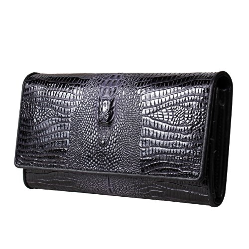 Women Genuine Leather Wallet Clutch Purse Handbag Bag Trifold Bifold Black - 2