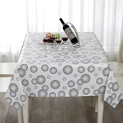 uxcell Vinyl Rectangle Table Cover Wipe Clean PVC Tablecloth Oil-proof/Waterproof Stain-resistant/Mildew-proof - 55 x 40 Inch (White with Black Spiral)
