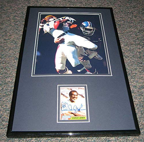 Signed Charlie Joiner Picture - Framed 11x17 Display - Autographed NFL Photos