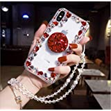 Amocase Diamond Clear Case with 2 in 1 Stylus for Samsung Galaxy S9 Plus,Luxury Girly 3D Handmade Gemstone Soft Rubber Bumper Ring Stand Holder Bling Case with Crystal Neck Lanyard - Red