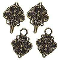 Bezelry Fleur De Lis Hook and Eye Cloak Clasp Fasteners Pack of 4 Pairs 70mm x 26mm Fastened.