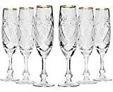 Neman GB6874G, 5.7 Oz (170 ml) Hand-Made Crystal Champagne Flutes, 24K Gold-Plated Crystal Cut Champagne Wine Glasses on Short Stem, Wedding Drinkware, Set of 6 Review