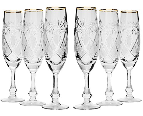 Collection Drinkware Crystal (Neman GB6874G, 5.7 Oz (170 ml) Hand-Made Crystal Champagne Flutes, 24K Gold-Plated Crystal Cut Champagne Wine Glasses on Short Stem, Wedding Drinkware, Set of 6)