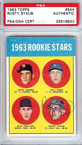 Rusty Staub Autographed/Hand Signed 1963 Topps Rookie Card #544 Houston Colts Vintage PSA/DNA #25816