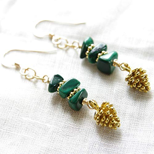 Pine Cone Earrings 14kt Gold Filled Green Malachite Gemstone Dangle