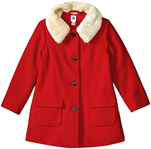 Petit Bateau Girls' Wool Coat with Faux Fur Collar, Red, 5 Kids