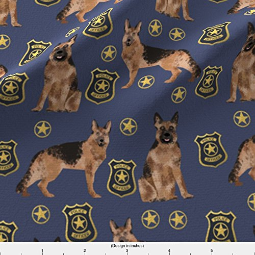 Spoonflower German Shepherd Fabric German Shepherd Police Badge Fabric Dog K9 Unit Fabric - Blue by Petfriendly Printed on Fleece Fabric by the Yard (Fleece German Shepherd)