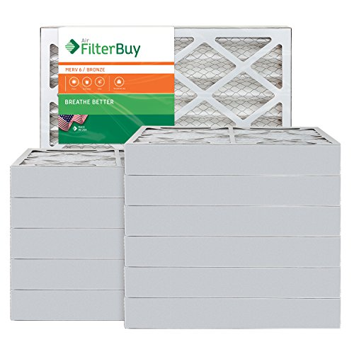 AFB Bronze MERV 6 18x24x4 Pleated AC Furnace Air Filter. Pack of 12 Filters. 100% Produced in The USA.