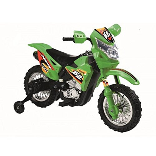 Extreme Rider Dirt Bike Children's Kid's Battery Operated Rechargeable Ride On Motorcycle w/ Removable Training Wheels, Ages 3 - 8 (Green)