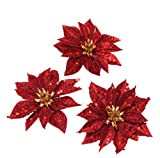 Baker Ross Glitter Poinsettia Artificial Flowers