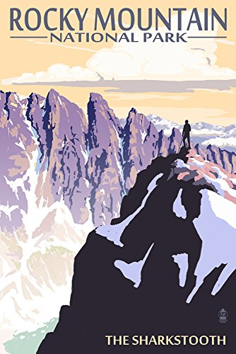 The Sharkstooth - Rocky Mountain National Park (12x18 Collectible Art Print, Wall Decor Travel Poster) (Rocky Paper Mountain)