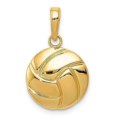 25197bdf0c71f Amazon.com: 14k Yellow Gold Volleyball Pendant Charm Necklace Sport ...