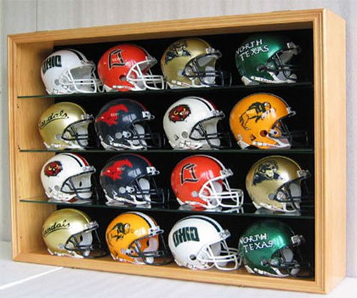 1:2 Scale Replica Mini Football Helmet Display Case Shadow Box Cabinet, UV Protection Door, MH01B-OA