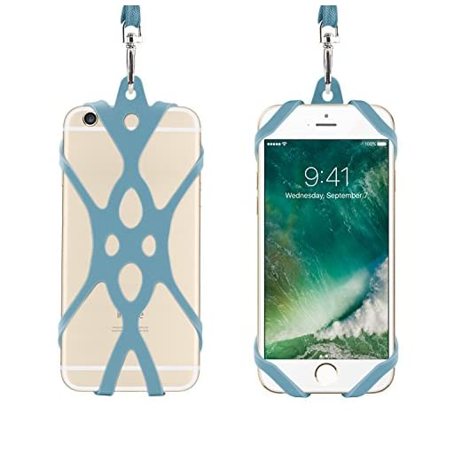Remeel 電話ストラップ 汎用シリコンケース付き iPhone 7 iPhone 7plus iPhone 6 iPhone 6s などのスマホ全機種対応 柔軟性 滑り止め (インジゴ)