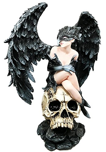 Large Nightcrawler Death Raven Crow Angel Atop Skull Graveyard Figurine Statue (Figurine Angel Designer)