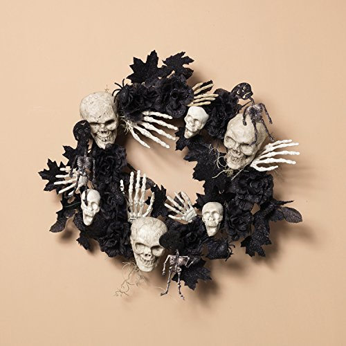 Halloween Skull Wreath - Frightening Skeleton Wreath With Black Glittered Leaves and Flowers
