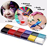 Face Oil Painting,12 Flash Colors Face Body Paint kits Oil Painting Makeup Palette Art Holiday Make Up Paintings for Kids and Adults
