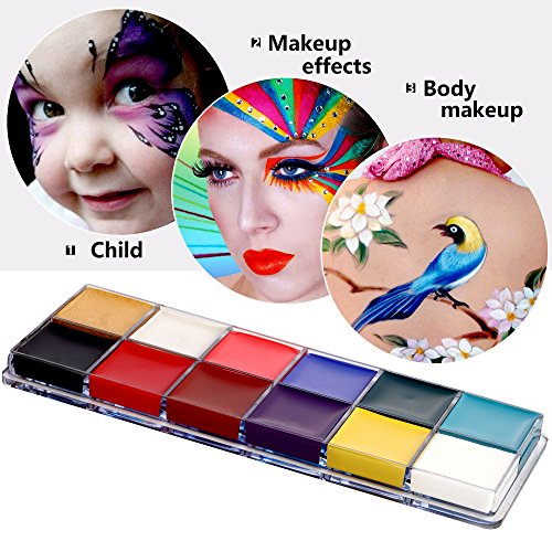 Mermaid Face Painting Kits,12 Flash Colors Face Body Paint Kits Oil Painting Makeup Palette Art Holiday Make Up Paintings for Kids and Adults ()
