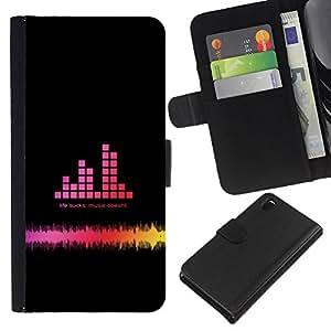 EJOY---La carpeta del tirón la caja de cuero de alta calidad de la PU Caso protector / Sony Xperia Z3 D6603 / --Dj Sound Rosa Negro Disco Sonido