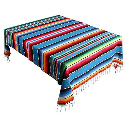 59 x 84-inch Mexican Blanket Stripe Tablecloths for Weddings Party Decorations, Cotton Travel Serape Blanket Outdoor Table Cover Table ()