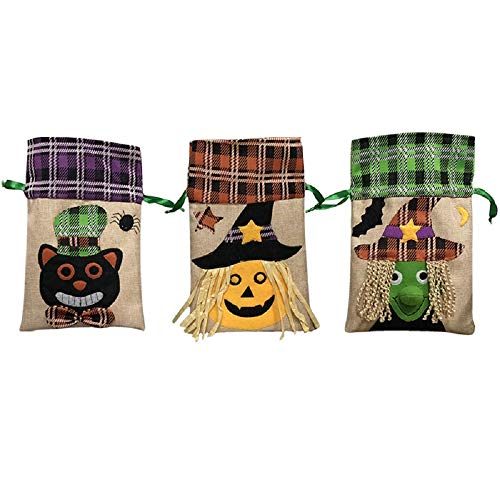 Loveliome Kids Trick or Treat Candy Bags,Halloween Party Event Home Bar Stage Costume Decoration Accessory Pumpkin Witch Bag(Style 1, 3 Pack)