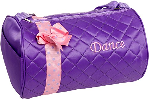 Silver Lilly Girls Dance Bag - Quilted Duffle Bag w/Bow (Lavender)
