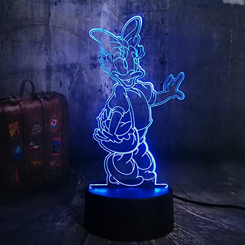 Cartoon Nice Lovely Girls Cute Daisy Duck Donald Lover 7 Color Change 3D Led Night Light Child Desk Lamp Birthday Christmas Gift (Lights Christmas Duck Donald)