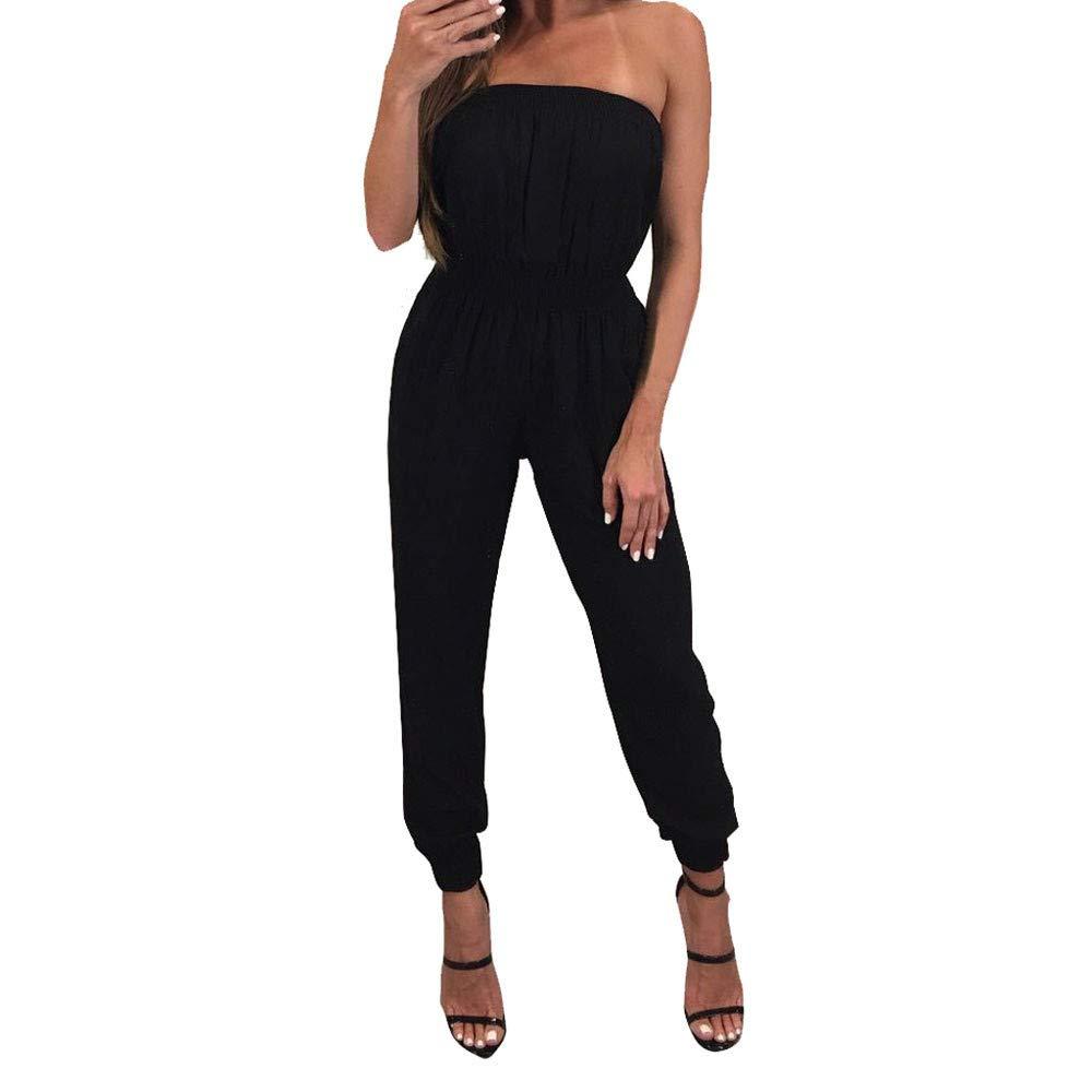 Women Jumpsuit Strapless Off Shoulder Elastic Waist Beam Foot Casual Party Playsuit Romper Long Pants Black
