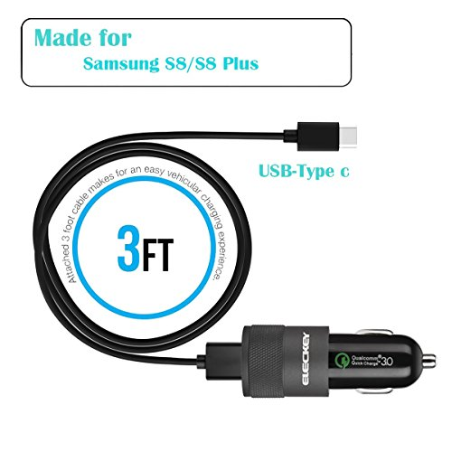 Rapid USB C Car Charger for Samsung Galaxy S8/S8 Plus/S9/S9 Plus/Note 8, LG V30/V20/G6/G5, HTC 10/U11 with Quick Charge 3.0 Port by Eleckey (Image #2)