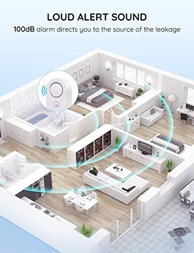 Govee Water Detectors, Wireless Water Leak Detector with 100 DB Loud Alarm, Water Sensor with Sensitive Leak Probes, Water Sensor Alarm for Kitchen Bathroom Basement Floor Battery Included -5 Pack