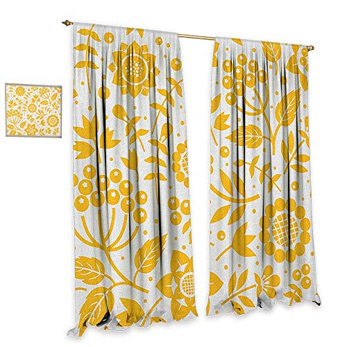 homefeel Yellow Flower Thermal Insulating Blackout Curtain Rustic Composition with Berries Twigs Graphic Flora Nature Leaves Pattern Customized Curtains W72 x L84 Yellow White