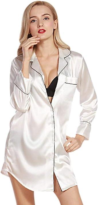 Pijama Mujer Noche Calentamiento Sleepshirt Noche Satén Moda Calentamiento Chemises Camisas De Noche Vestido De Deslizamiento Chemise: Amazon.es: Ropa y accesorios