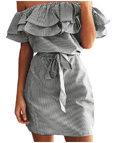Stripes Dresses Black Women's Cocktail Comfy Flounced Sleeve Curvy Swing Pv5Ozq