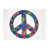 5' x 7' Area Rug Peace Symbols Inside Tye Dye Symbol