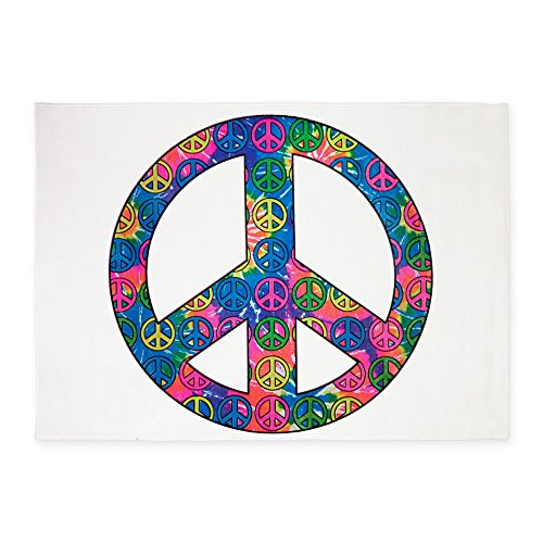 5' x 7' Area Rug Peace Symbols Inside Tye Dye Symbol by Royal Lion
