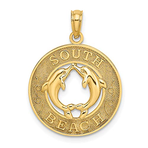 14k Yellow Gold South Beach Words with Two Dolphins in Round Dime Size Pendant 18x18mm (Lincoln Beach, Florida)