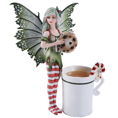 (Pacific Giftware Amy Brown Chrismas Cup Fairy Dragon Fantasy Art Figurine Collectible 5.75 inch)