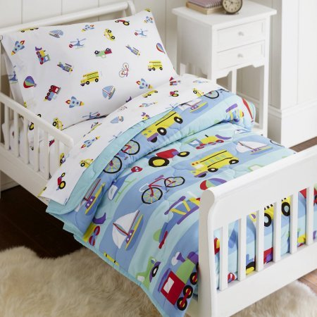 4 Piece Kids Blue Red Boat Toddler Bed Set, Cute Yellow Purple Train Bedding School Bus Space Ship Airplane Comforter Hot Air Balloon Stripe Patterns Helicopter Tractor Trucks Children Room, Polyester